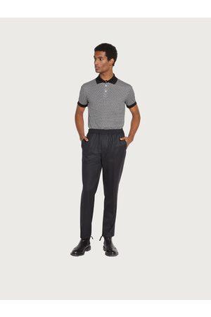 Salvatore Ferragamo Men Short sleeved polo with jacquard Gancini
