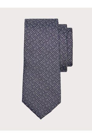 Salvatore Ferragamo Men Gancini jacquard silk tie Grey