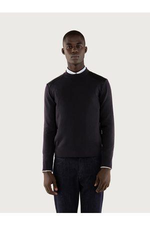 Salvatore Ferragamo Men Sweatshirts - Men Round neck sweater with nappa details