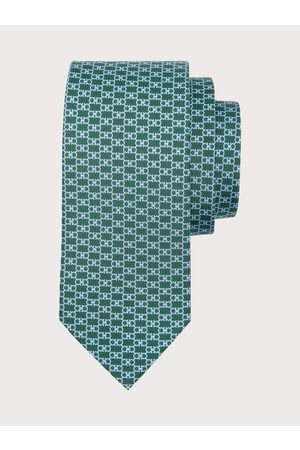 Salvatore Ferragamo Men Neckties - Men Gancini print silk tie