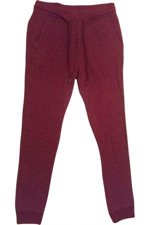 Bershka Burgundy Cotton Trousers