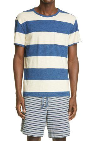 RRL Men T-shirts - Men's Indigo Stripe Pocket T-Shirt