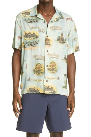 RRL Men's Coney Island Print Short Sleeve Button-Up Camp Shirt