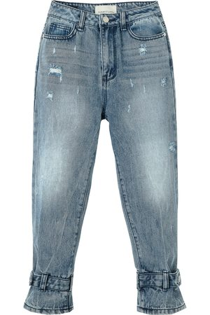 Habitual Kids Girl's Adyson Distressed Belted Wide Leg Jeans