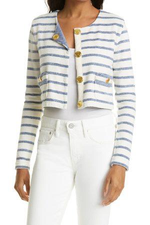 Le Superbe Women Blazers - Women's Mariners Stripe Crop Textured Cotton Blend Jacket