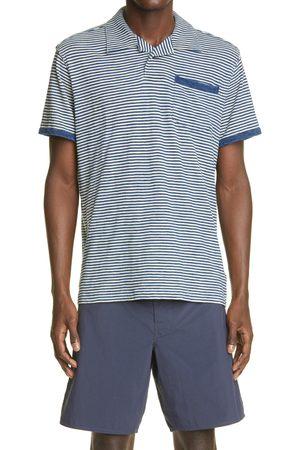 RRL Men Polo Shirts - Men's Indigo Stripe Jersey Polo