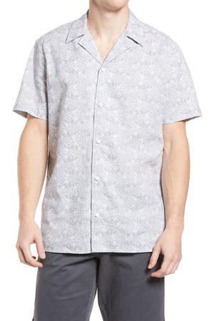 Treasure & Bond Men's Short Sleeve Linen & Cotton Button-Up Camp Shirt