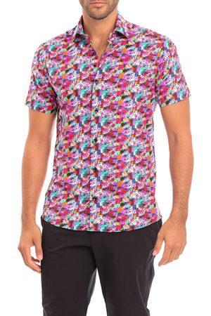 Bertigo Men's Mono Slim Fit Geometric Short Sleeve Button-Up Shirt