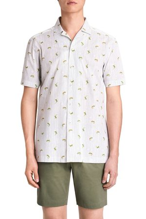 Bugatchi Men Short sleeves - Men's Shaped Fit Stretch Print Short Sleeve Button-Up Shirt