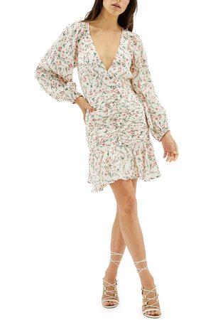 MINKPINK Women's Kacey Ruched Floral Long Sleeve Minidress