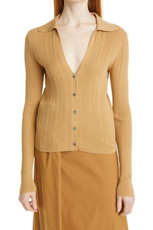 Vince Women's Ribbed Polo Collar Cardigan