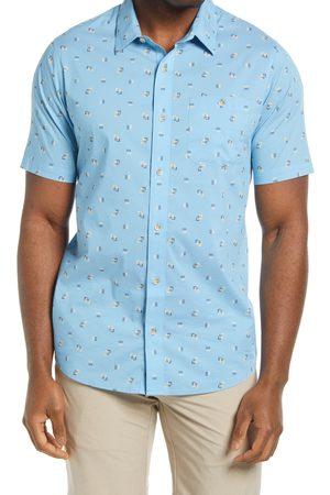 TravisMathew Men's Pick Six Geo Print Short Sleeve Stretch Button-Up Shirt