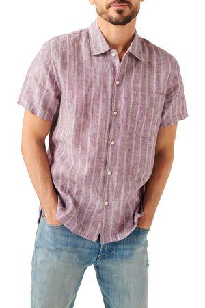 Seven Men's Stripe Linen Short Sleeve Button-Up Short