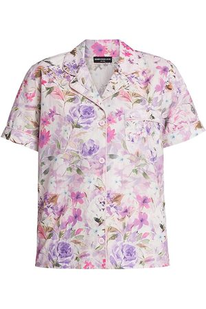 Generation Love Women's Lenox Floral Cotton Pajama Set - Lilac Floral - Size Large