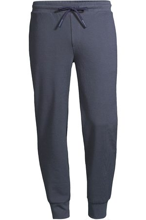 Theory Men's Essential Waffle-Knit Sweatpants - Air Force - Size Large