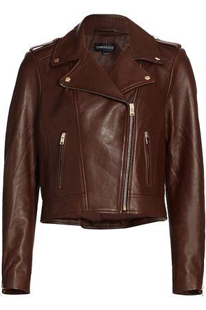 LaMarque Women's Leather Biker Jacket - Chocolate - Size Large