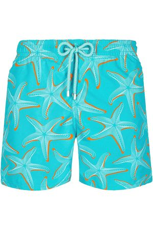 Vilebrequin Men Swim Shorts - Men's Starlettes Printed Swim Trunks - Bleu Ming - Size Medium