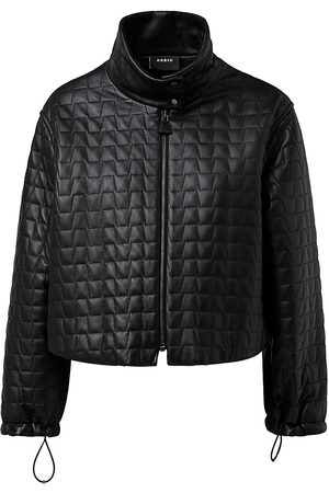 AKRIS Women's Trapezoid Quilted Leather Cropped Jacket - - Size 16