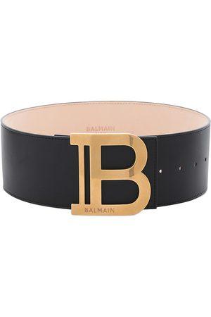 Balmain Women's Logo Leather Belt - Noir - Size XS