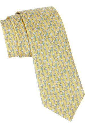 Salvatore Ferragamo Men's Sheep-Print Silk Tie - Giallo