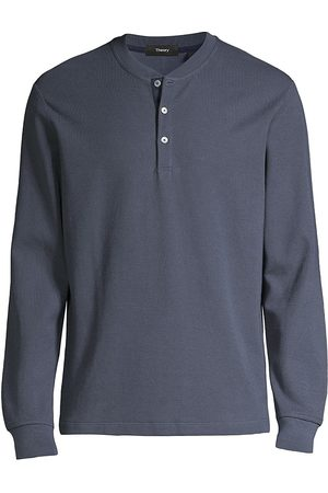 THEORY Men's Classic Long-Sleeve Henley Shirt - Air Force - Size Small