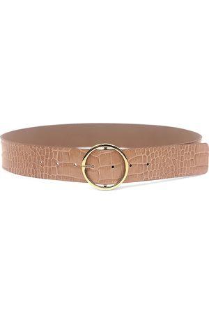 B-Low The Belt Women's Molly O-Buckle Croco-Look Leather Belt - Almond - Size Large