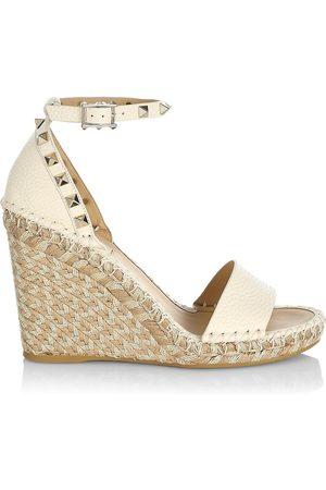 Valentino Garavani Women's Rockstud Double Leather Espadrille Wedge Sandals - Light Ivory - Size 11