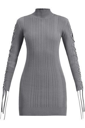 Herve Leger Women's Rib Lace-Up Long-Sleeve Dress - Stone - Size XS