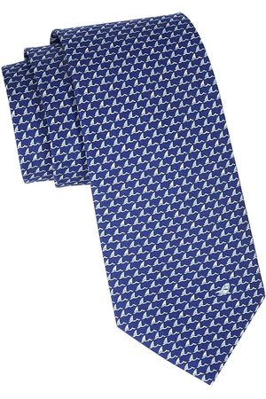 Salvatore Ferragamo Men's Shark Fin Patterned Silk Tie - Marine