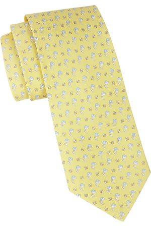 Salvatore Ferragamo Men's Floral Print Silk Tie - Giallo