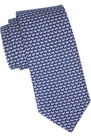Salvatore Ferragamo Men's Dog Printed Silk Tie - Navy