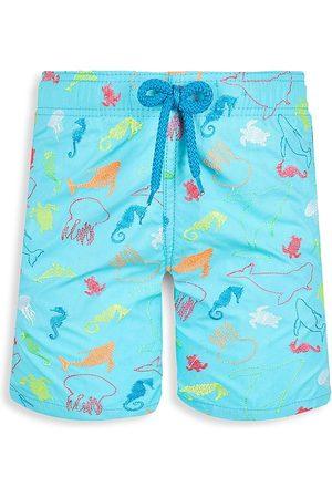Vilebrequin Little Boy's & Boy's 1999 Focus Embroidered Swim Trunks - Bleu - Size 14
