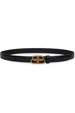 Balenciaga Women's BB Shiny Croc-Embossed Leather Belt - - Size XL