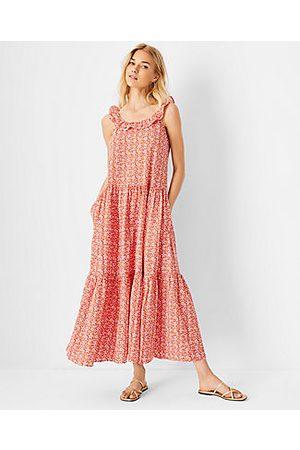 ANN TAYLOR Petite Ruffle Neck Maxi Dress