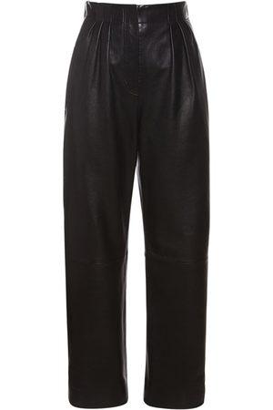 Alberta Ferretti Nappa Leather Straight Pants