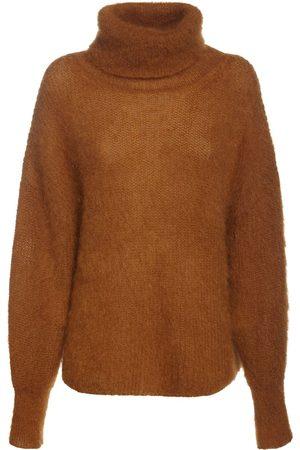 Alberta Ferretti Mohair Blend Knit Turtleneck Sweater