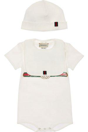 Gucci Cotton Bodysuit, Hat & Bib