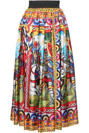 DOLCE & GABBANA Carretto Print Silk Twill Midi Skirt