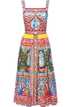 Dolce & Gabbana Carretto Print Cotton Poplin Midi Dress