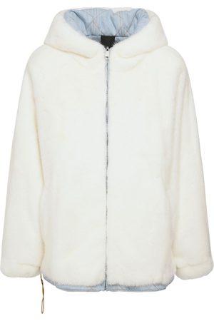 Blancha Reversible Hooded Bicolor Fur Jacket