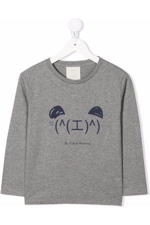 KNOT Kaomoji long-sleeved T-shirt - Grey