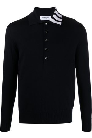 Thom Browne 4-Bar long-sleeved knitted polo shirt