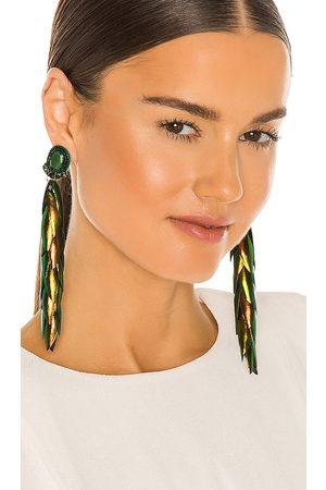 RANJANA KHAN Long Beetle Wing Earrings in Dark .