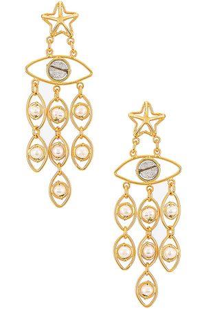 Mercedes Salazar Star Eyes Earrings in Metallic .