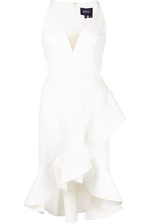 Marchesa Notte Sleeveless V-neck ruffle dress