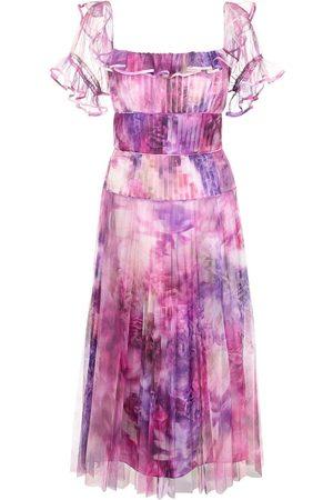 Marchesa Notte Off-shoulder printed chiffon dress - Multicolour