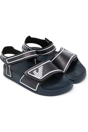 Emporio Armani Kids Boys Sandals - Touch-strap embossed logo sandals