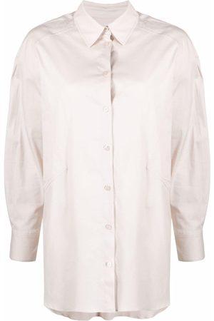 12 STOREEZ Women Long sleeves - Curved-hem longsleeved shirt - Neutrals