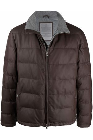 Brunello Cucinelli Men Leather Jackets - Padded leather puffer jacket