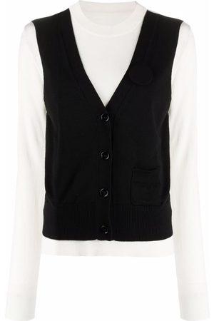 MM6 Maison Margiela Knitted waistcoat-layered jumper